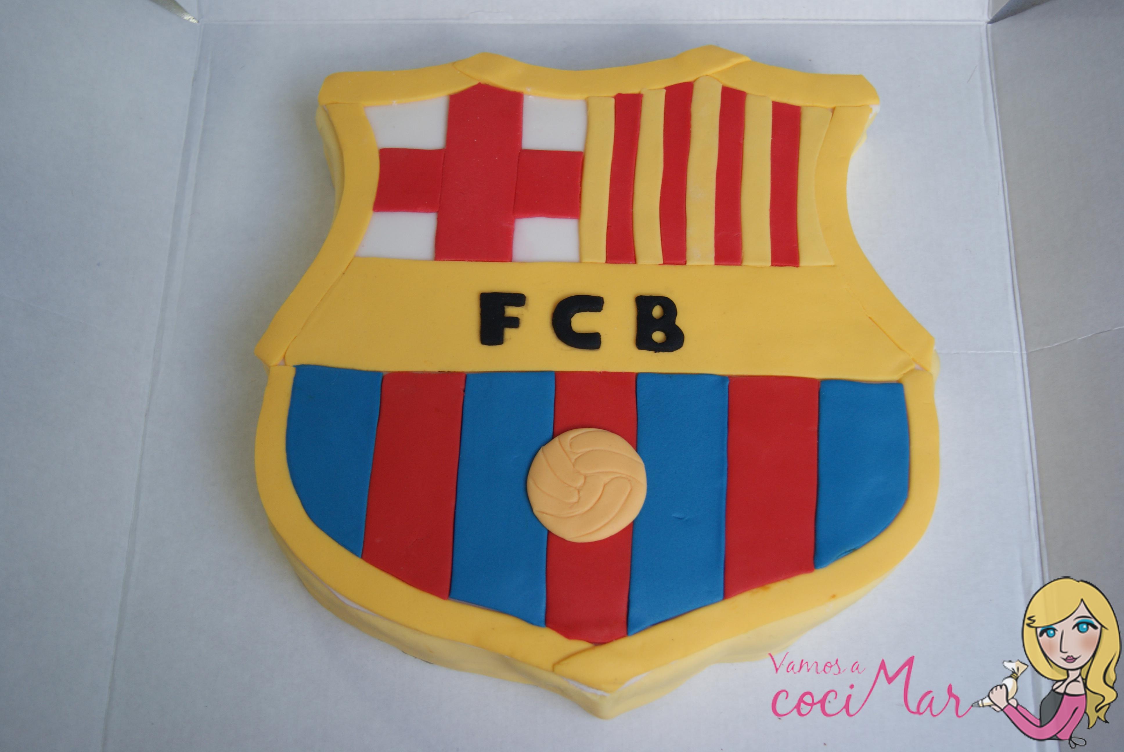 tarta fondant escudo del barcelona