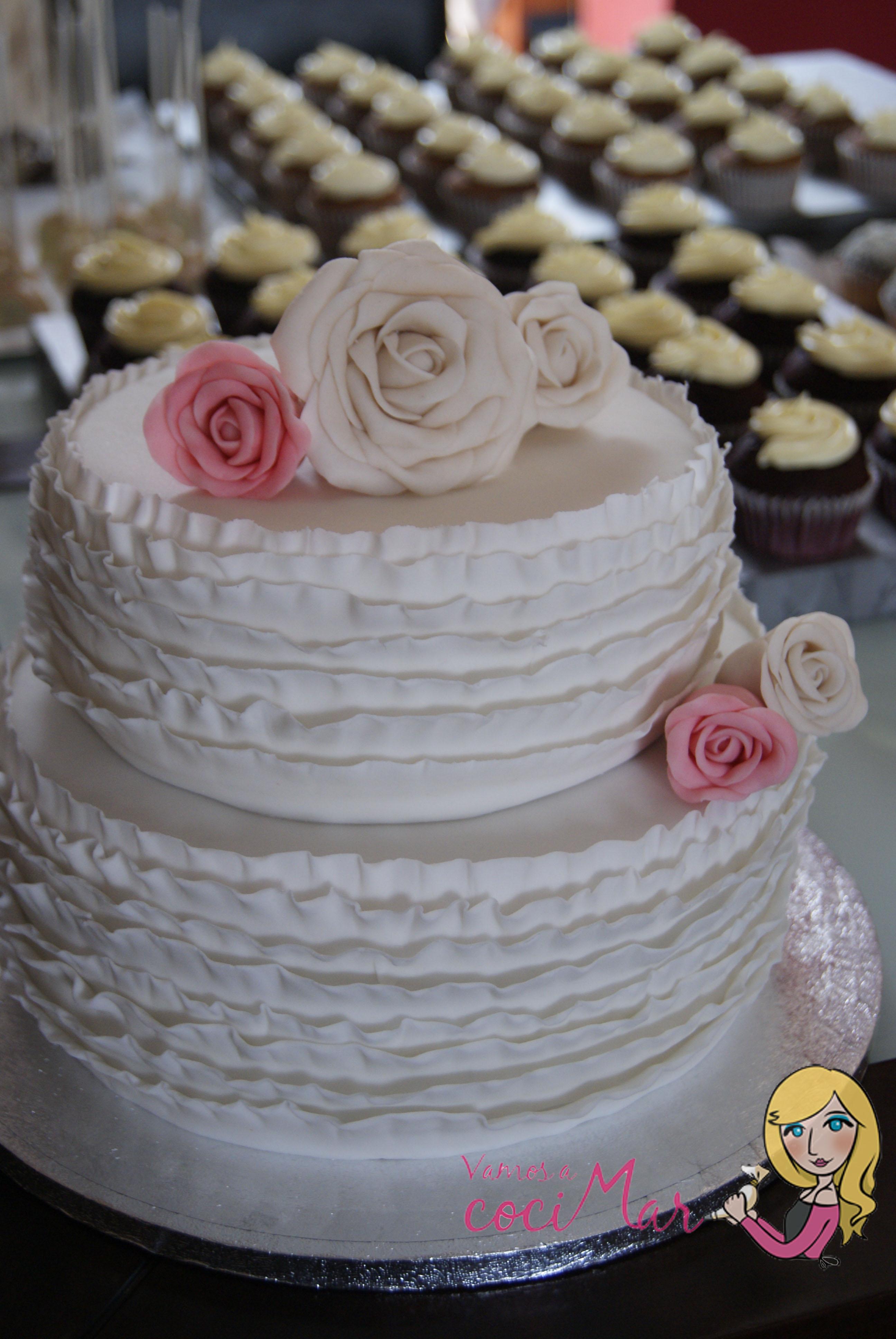 tarta fondant boda volantes