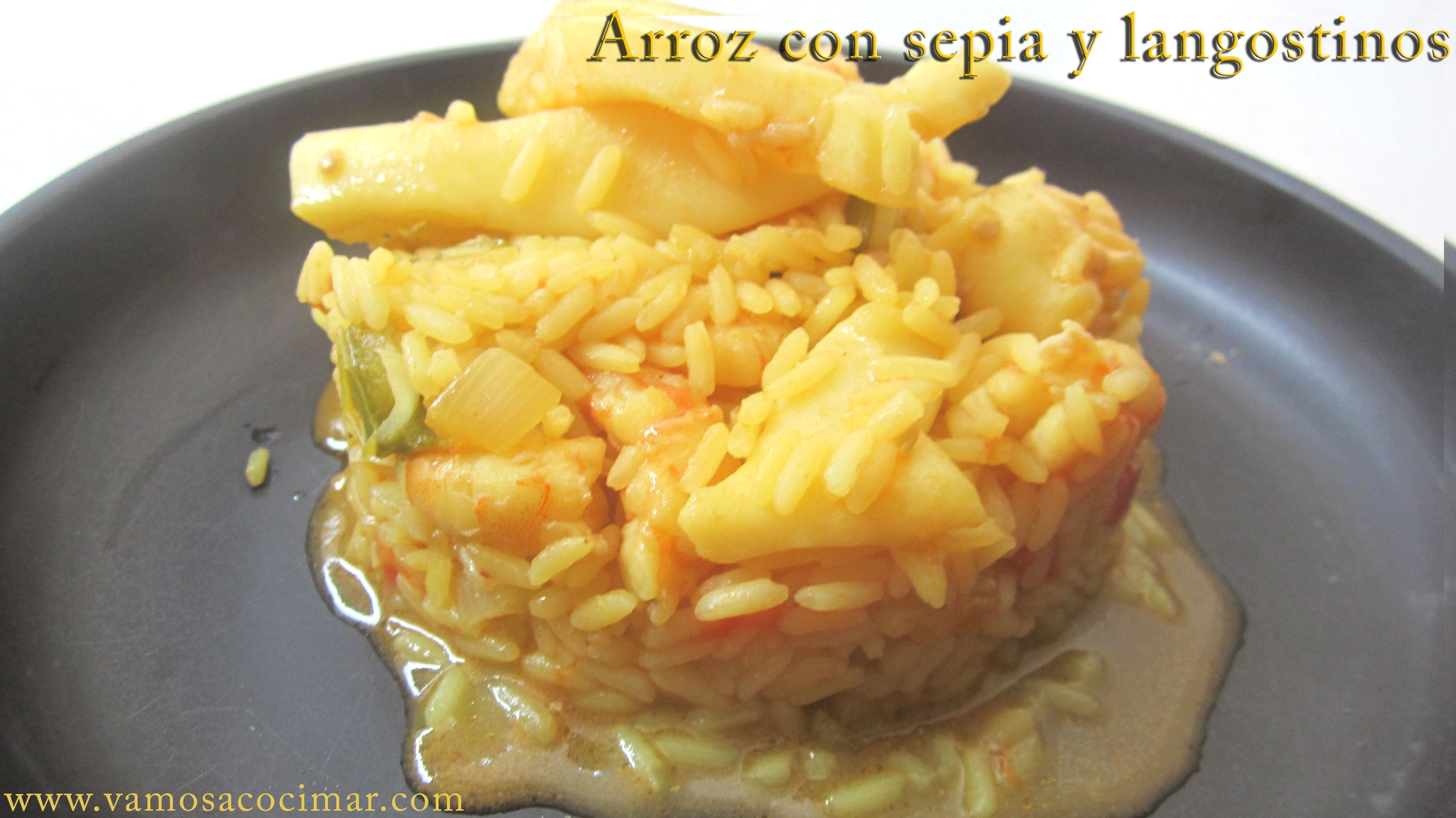 Receta arroz con sepia y langostinos rico y fácil